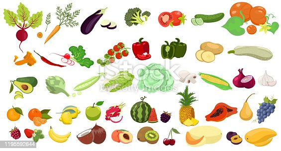 Set of fruits and vegetables isolated on a white background. Vector graphics.
