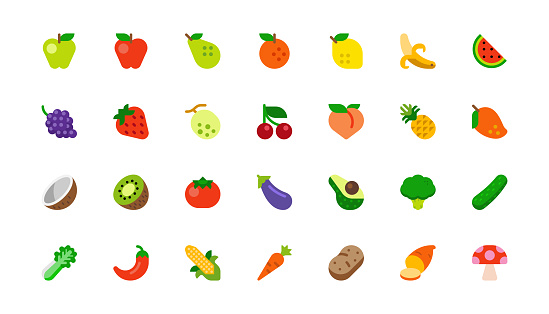 Set of Fruits and Vegetables. Vegetarian Foods. Fresh Organic Food Flat Icons, Emojis, Symbols, Stickers Collection