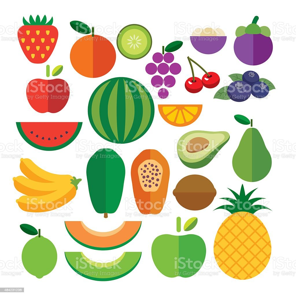 set of fruits flat icon vector art illustration