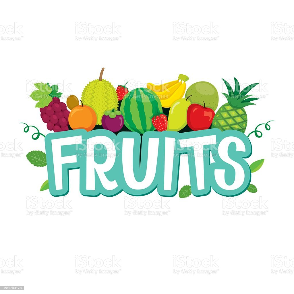 Set Of Fruits Objects And Letters Stock Vector Art & More Images of ...