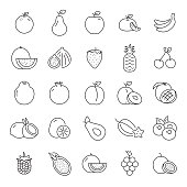 Set of Fruits Related Line Icons. Editable Stroke. Simple Outline Icons.