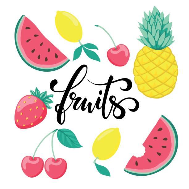 ilustraciones, imágenes clip art, dibujos animados e iconos de stock de conjunto de frutas, símbolo del verano. frutas dibujado a mano caligrafía y pincel pluma letras. - tipos de letra de historietas