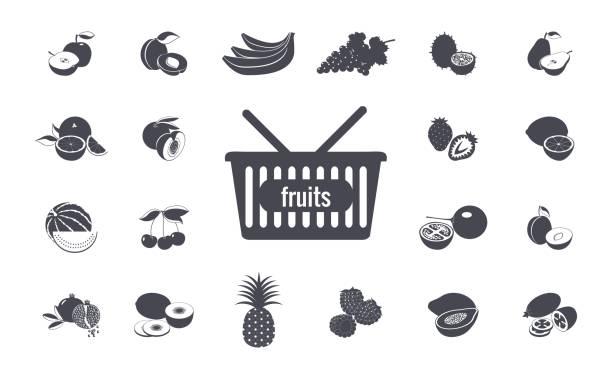 ilustrações, clipart, desenhos animados e ícones de conjunto de frutas - fruit salad