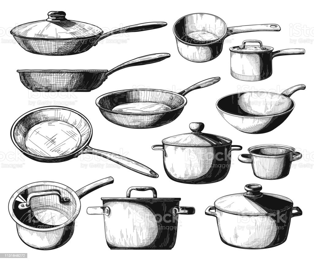 Set of frying pan and different pots isolated on white background. Vector illustration. - Royalty-free Aço arte vetorial
