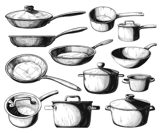 Set of frying pan and different pots isolated on white background. Vector illustration. Set of frying pan and different pots isolated on white background. Vector illustration. frying pan stock illustrations