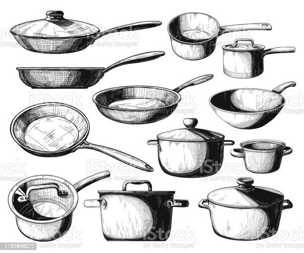 Set Of Frying Pan And Different Pots Isolated On White Background Vector Illustration - Arte vetorial de stock e mais imagens de Aço