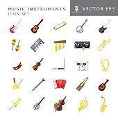 Vector illustration of a set of instrument icons on white background. No white box behind each icon. Fully editable. Simple icons include electric guitar, acoustic guitar, harmonica, banjo, electric bass, Maraca, keyboard, chimes, dj turntable, trombone, tambourine, fiddle, Theremin, drums, harp, cow bell, clarinet, accordion, lap guitar, mandolin, trumpet, steel guitar, cello, French horn, saxophone. Vector eps 10 and high resolution jpg in download.