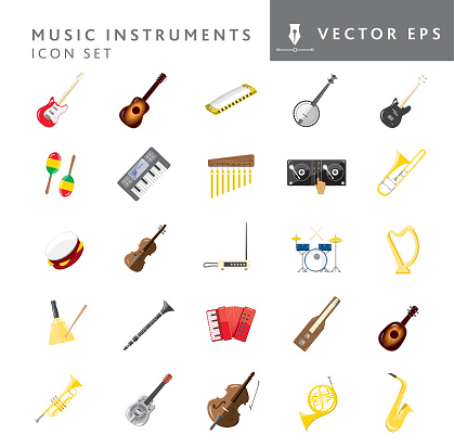 Set of full color assorted music instruments icons