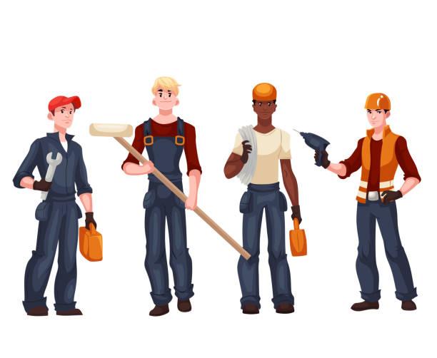Set of full length workers - electrician, mechanic, painter, repairman – Vektorgrafik