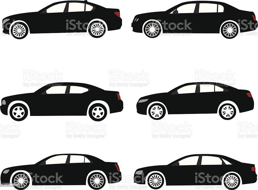 Set of full size or executive modern car silhouettes vector art illustration
