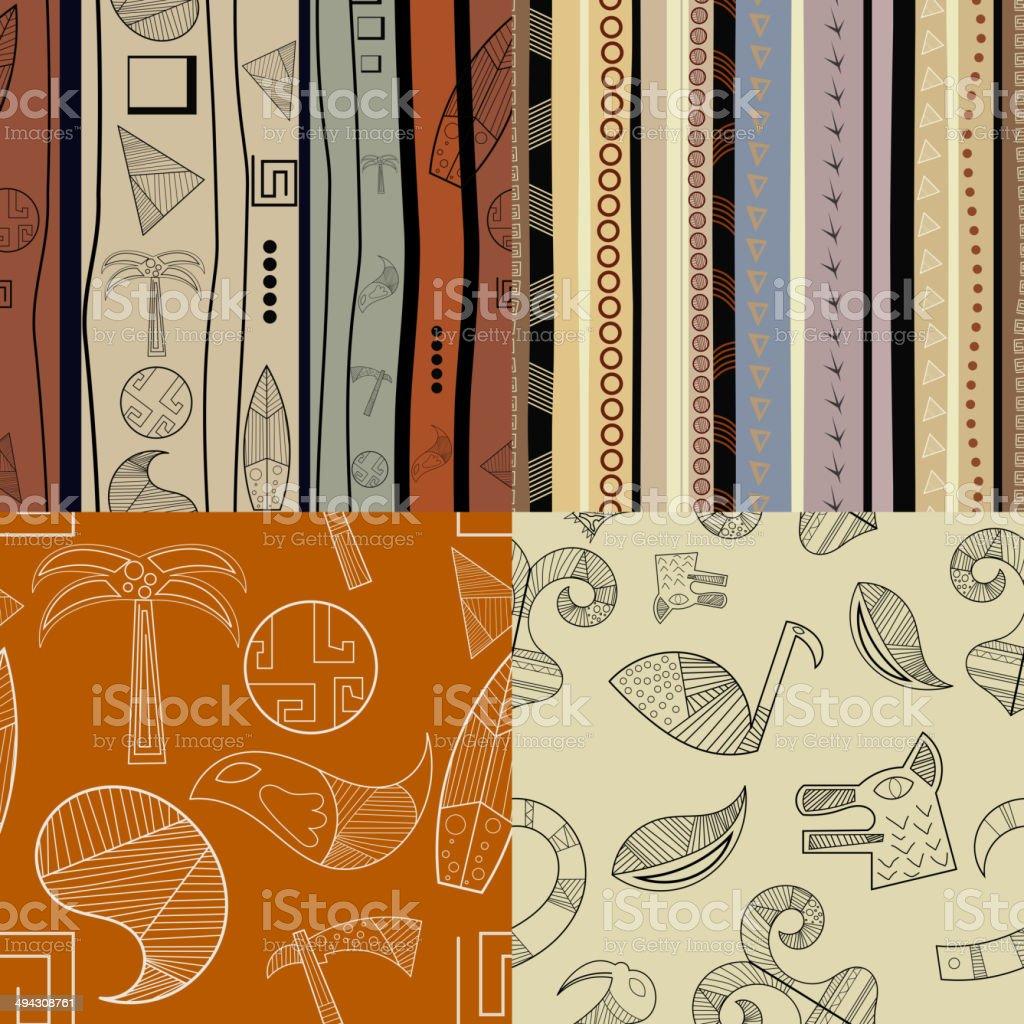 Set of  fullcolor patterns primitive tribal pattern vector art illustration