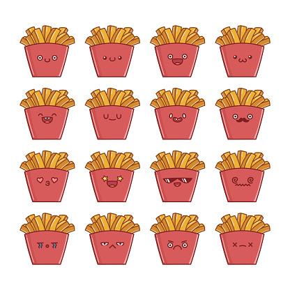 set of fun cute potato french fries icon cartoons