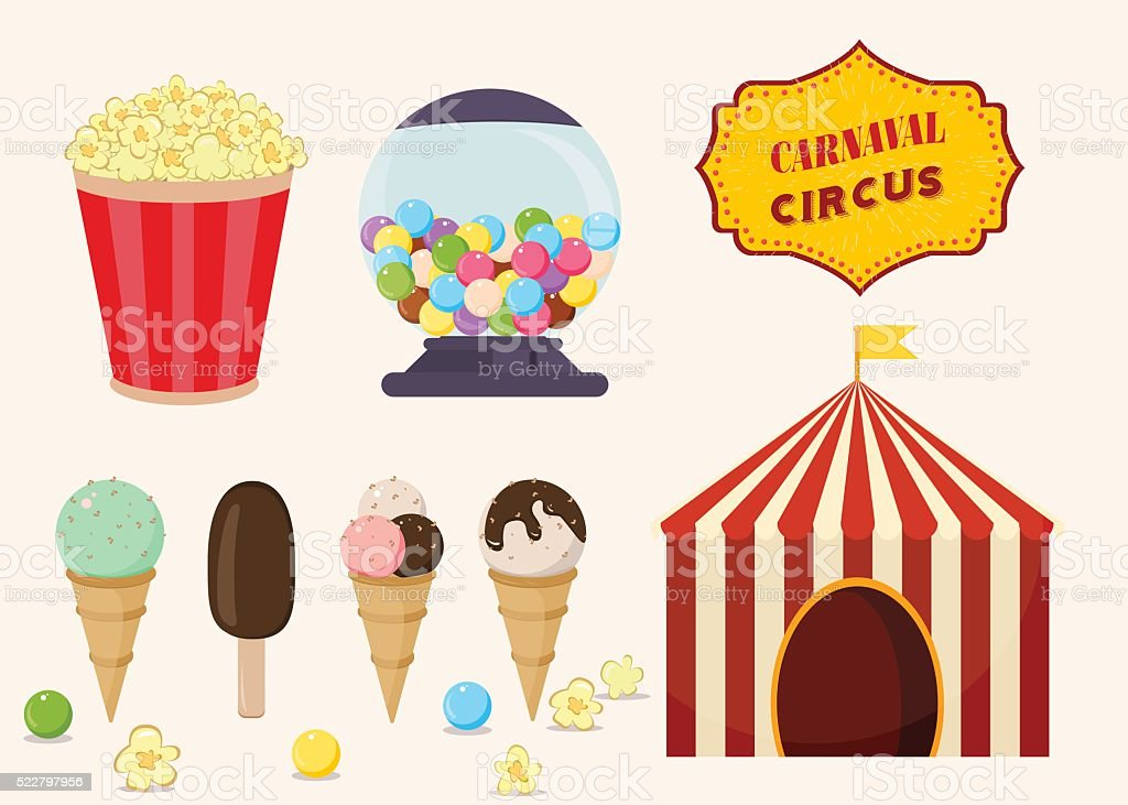 Set Of Fun Fair And Traveling Circus Food Vector Stock Vector Art