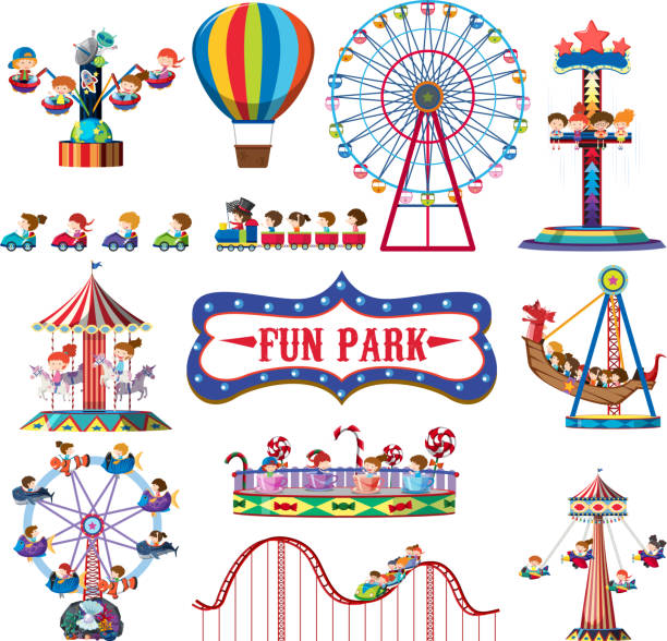 illustrazioni stock, clip art, cartoni animati e icone di tendenza di a set of fun park rides - luna park