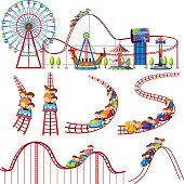 A set of fun park roller coaster illustration