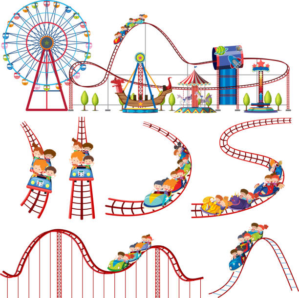 a set of fun park roller coaster - roller coaster stock illustrations