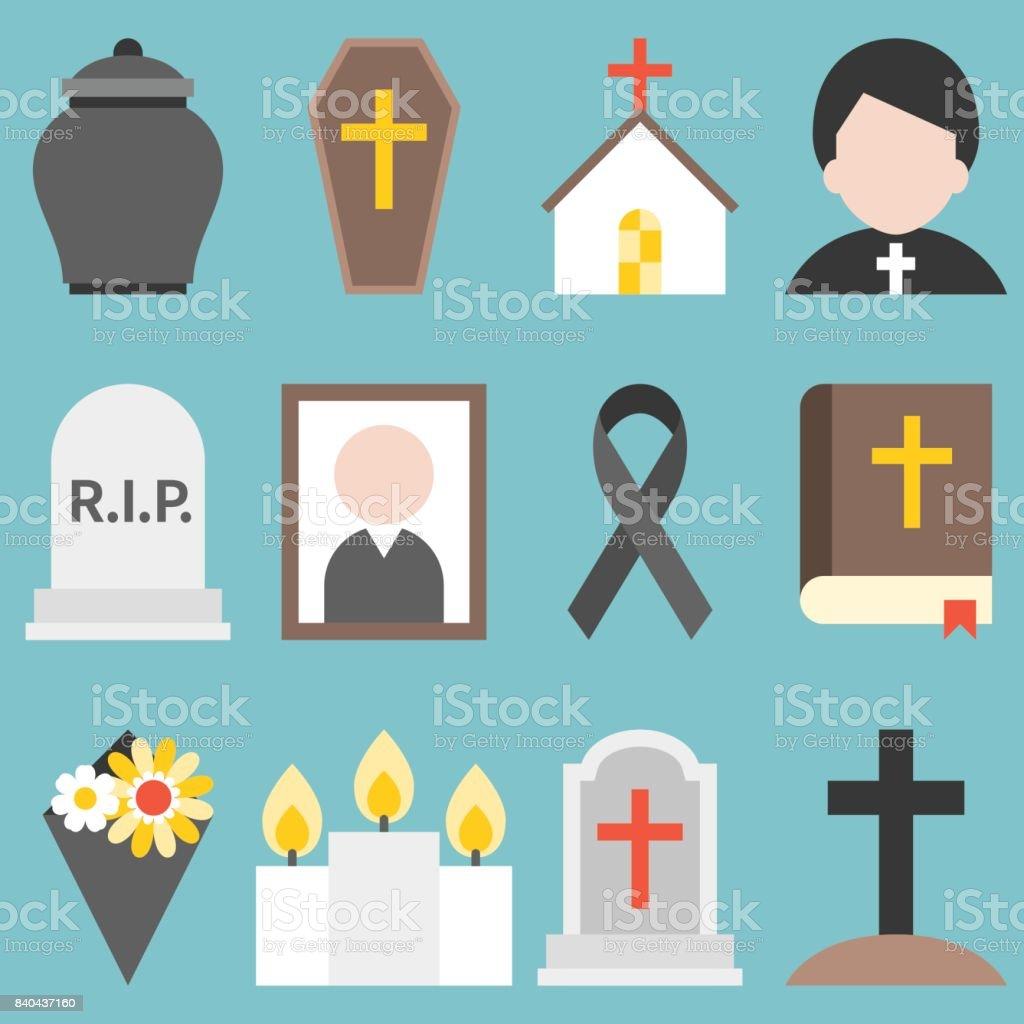 Set of funeral object icon for christian, flat design vector vector art illustration