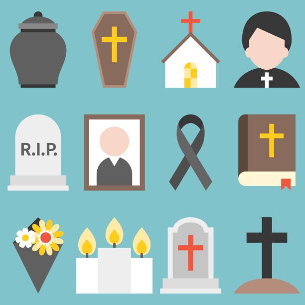 set of funeral object icon for christian, flat design vector - tombstone stock illustrations