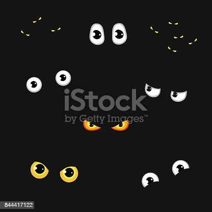 istock Set of funny and evil eyes in the dark - vector illustration 844417122