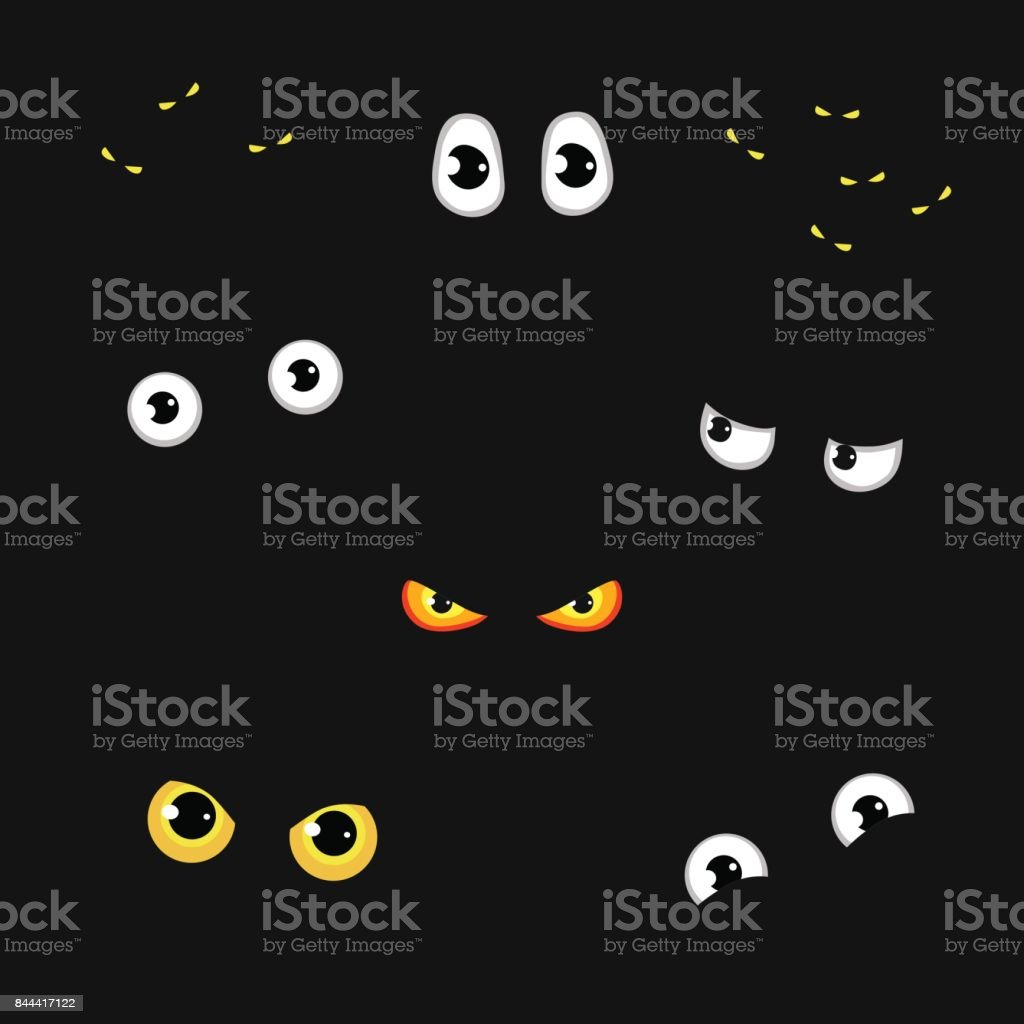 Set of funny and evil eyes in the dark - vector illustration vector art illustration