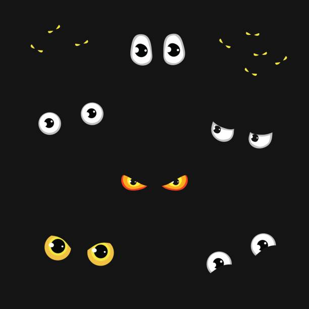 set of funny and evil eyes in the dark - vector illustration - глаз stock illustrations