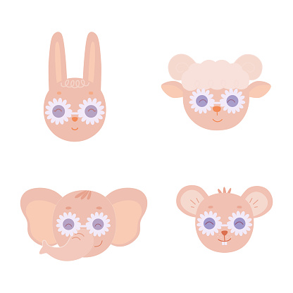 A set of funny animal faces with glasses.The head of a hare, a lamb, an elephant and a mouse. Vector illustration isolated on a white background for design and prints