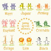 Set of funny animals drawing in cartoon style. Vector illustration