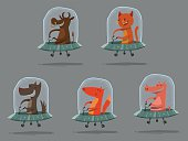 Set of funny animals in UFO