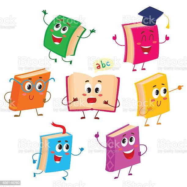 Set of funny book characters mascots cartoon vector illustration vector id636146260?b=1&k=6&m=636146260&s=612x612&h=ltzupimqjscsc16fasscxwhw6lbun8imlo1l41tzm1s=