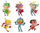 Set of funny boys in superhero costumes
