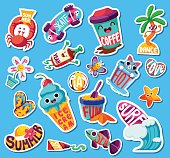 Set of funny bright Summer stickers and emblems. Vector illustration