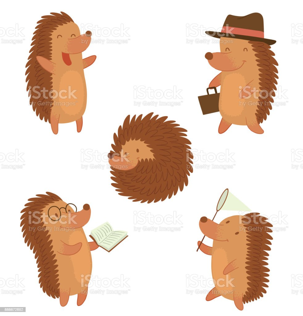 Set of funny brown hedgehogs vector art illustration