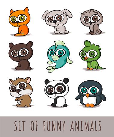 Set of funny cartoon animals on white background. Vector illustration.