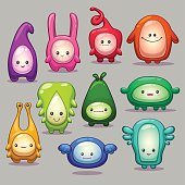 Set of funny cartoon colorful monsters
