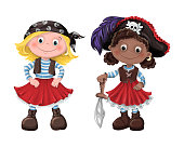 Set of funny cartoon cute children of pirates and sea inhabitants. Vector illustration.