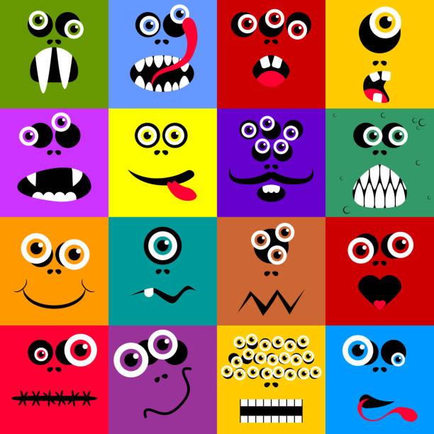 Ensemble de drôle de dessin animé expression monster - Illustration vectorielle