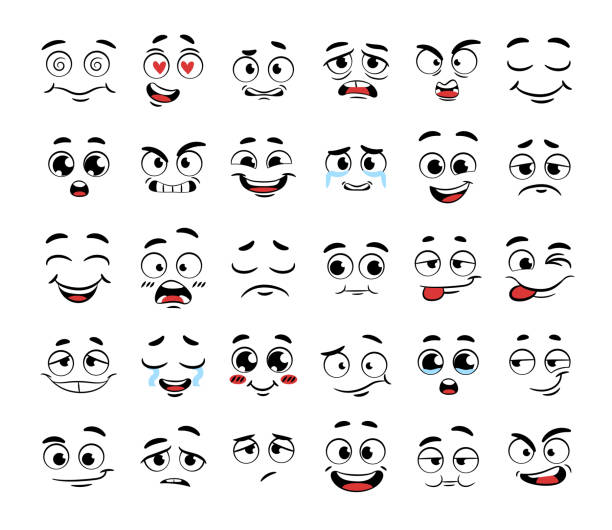 set of funny cartoon faces - antropomorficzny stock illustrations