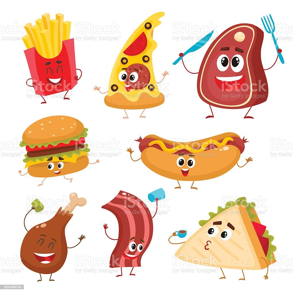 Set of funny cartoon fast food characters vector art illustration
