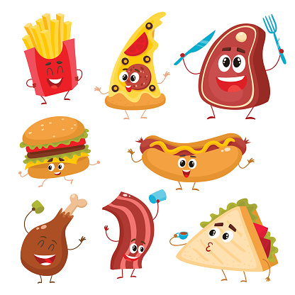 Cartoon food and drink stock illustrations