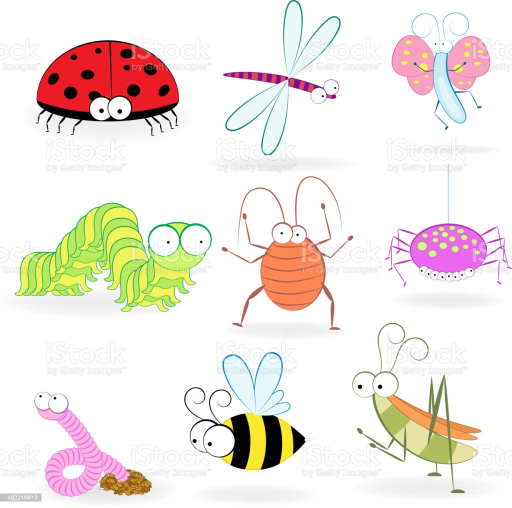 Set of funny cartoon insects. Vector illustration royalty-free stock vector art