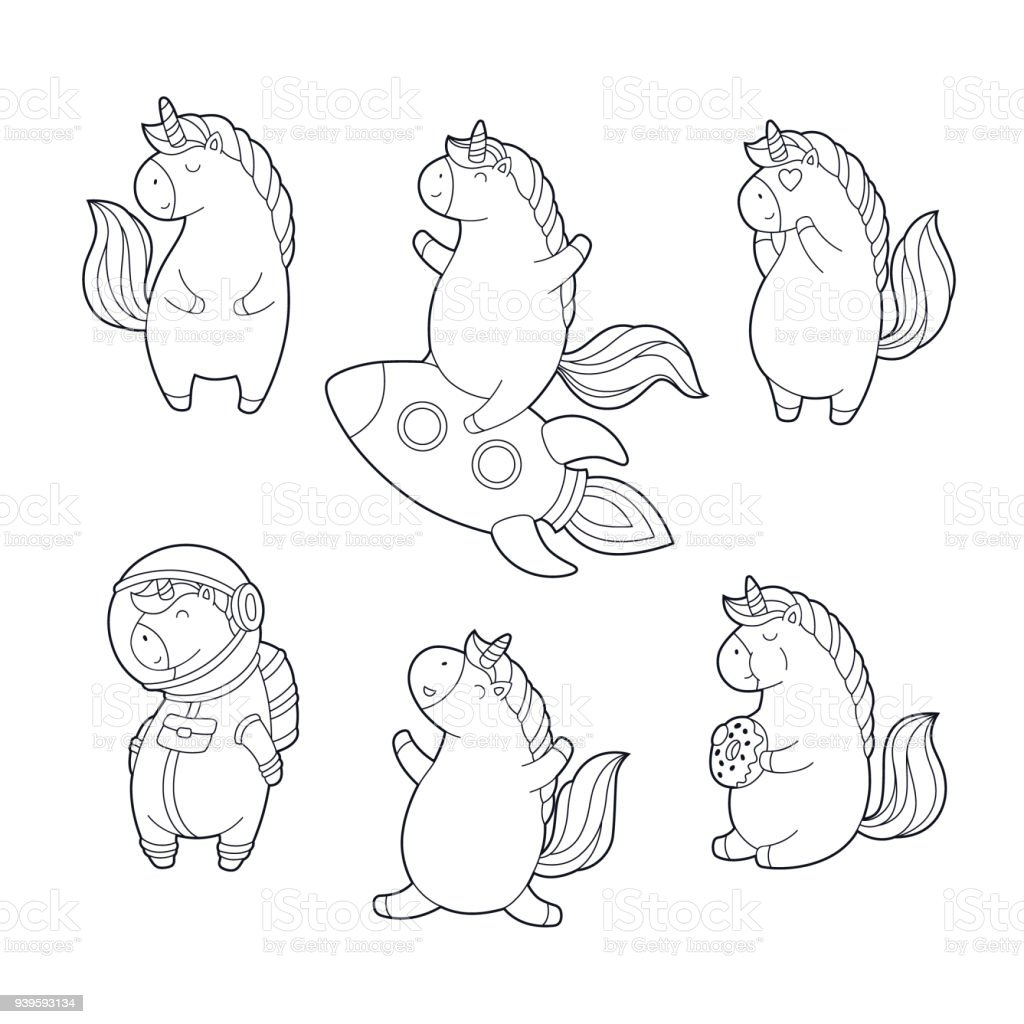 Ilustración de Juego De Unicornios Mágicos Divertidos Dibujos ...
