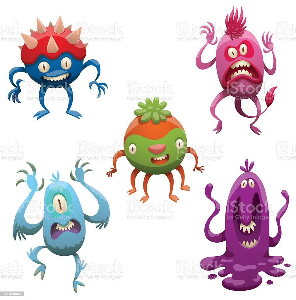Set of funny cartoon monsters vector art illustration