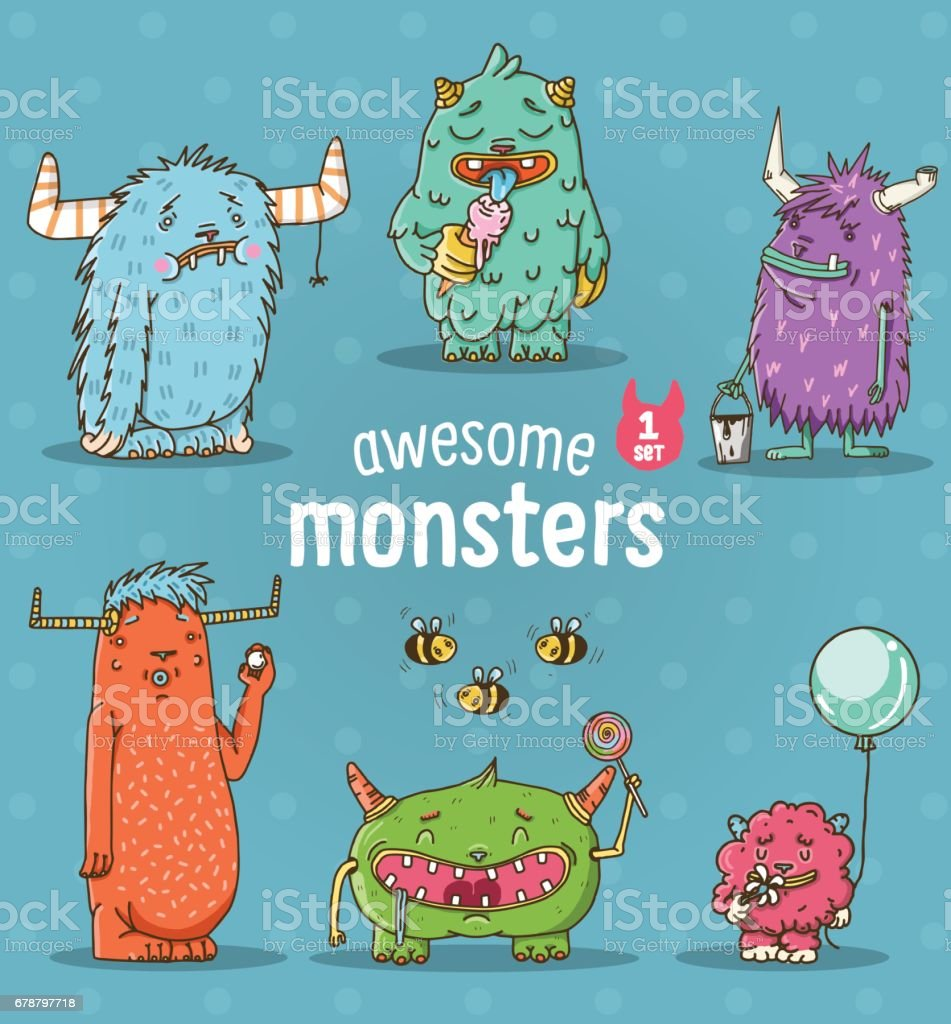 Set of funny cartoon monsters vector art illustration