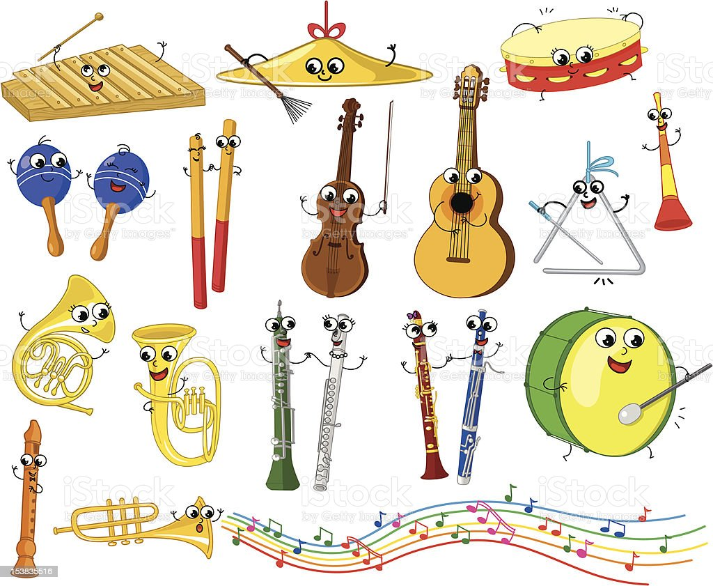 Set of funny cartoon musical instruments royalty-free set of funny cartoon musical instruments stock vector art & more images of anthropomorphic smiley face