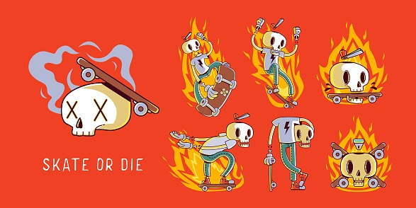 Set of funny cartoon skater skull stickers. Illustrations for t-shirts, posters, sweatshirts and souvenirs
