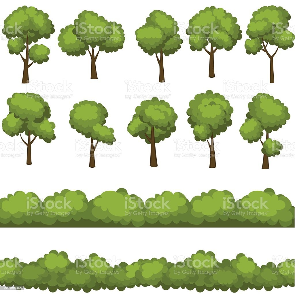 Set of funny cartoon trees and green bushes. Vector illustration. vector art illustration
