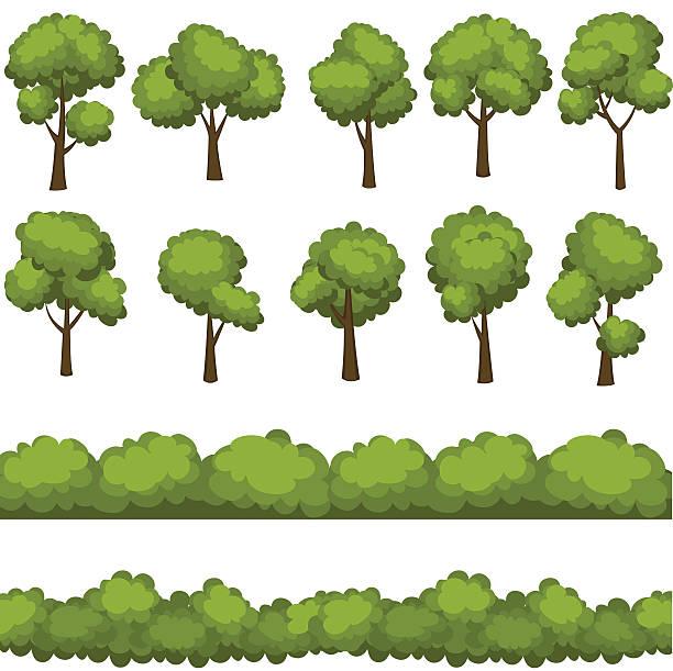 bildbanksillustrationer, clip art samt tecknat material och ikoner med set of funny cartoon trees and green bushes. vector illustration. - buske
