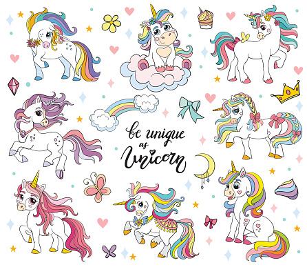 Set of funny cartoon unicorns vector illustration