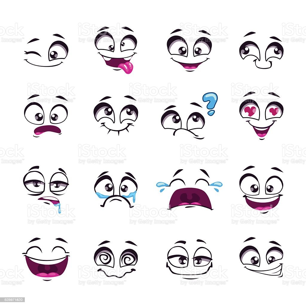 Set of funny cartoon vector comic faces vector art illustration