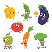 Set of funny cartoon vegetables doing sport